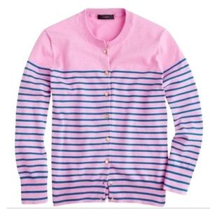 J. Crew Striped Cardigan with Anchor Button Detail